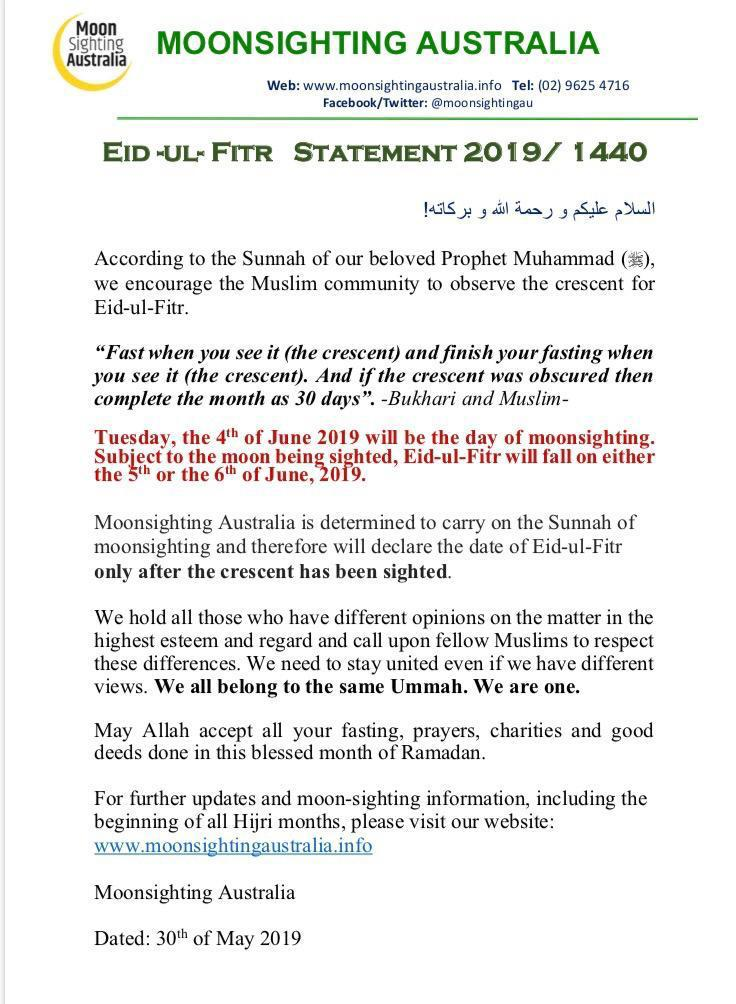 Shawwal 1440 – The Hilaal has been sighted in Brisbane